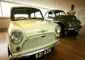 Image of classic cars in showroom