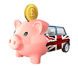Image of piggy bank merged with car
