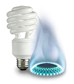 Light bulb and gas burner